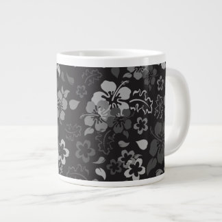 Hibiscus Flower Pattern Glass Jumbo Mug