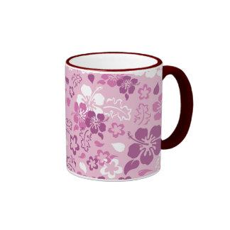 Hibiscus Flower Pattern Glass Ringer Mug