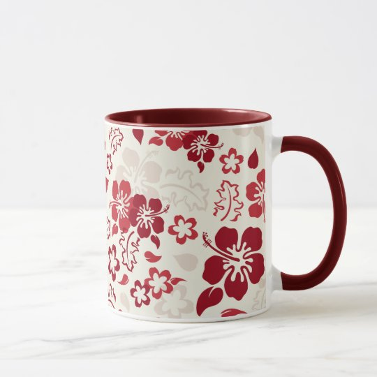 Hibiscus Flower Pattern Glass Ringer Mug
