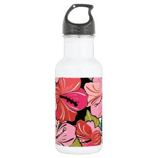 Hibiscus Flower Pattern Stainless Steel Water Bottle