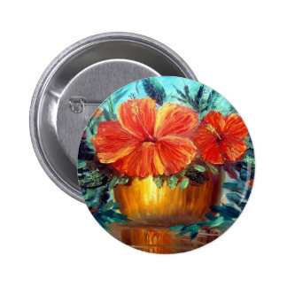 Hibiscus Flower Pot Art 2 Inch Round Button