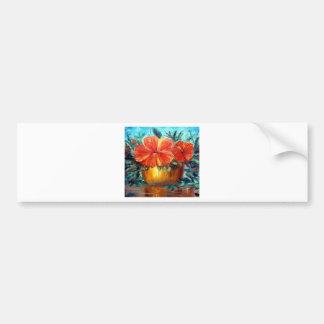 Hibiscus Flower Pot Art Bumper Sticker