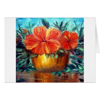 Hibiscus Flower Pot Art Card