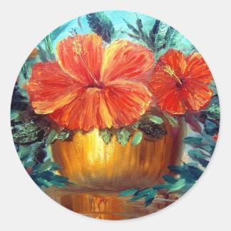 Hibiscus Flower Pot Art Classic Round Sticker