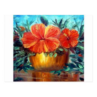Hibiscus Flower Pot Art Postcard