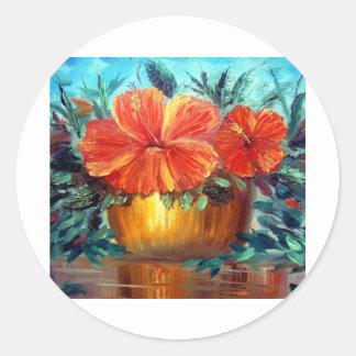 Hibiscus Flower Pot Art Round Stickers