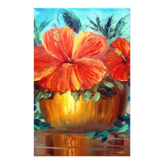 Hibiscus Flower Pot Art Stationery Paper