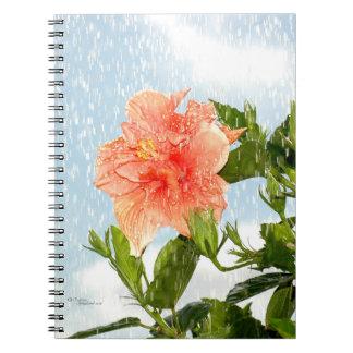 Hibiscus flower Rain shower Notebook