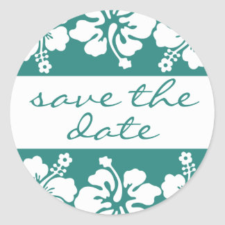 Hibiscus Flower Save The Date Label Sea Foam Green