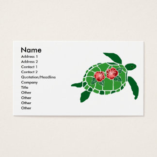 Hibiscus flower sea turtle business cards