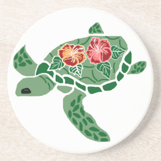 Hibiscus flower sea turtle coaster