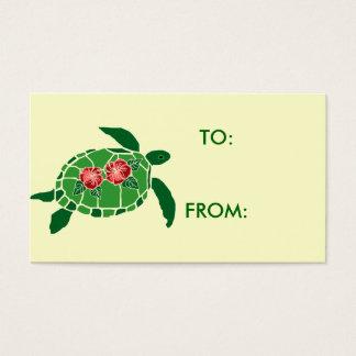 Hibiscus flower sea turtle gift tag