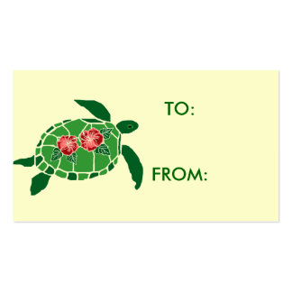 Hibiscus flower sea turtle gift tag business card