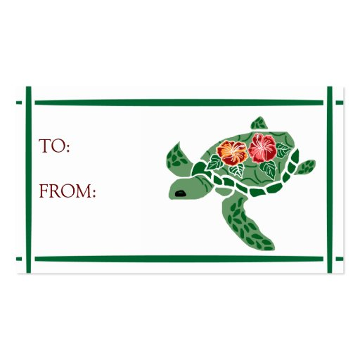 Hibiscus flower sea turtle GIFT TAGS Double-Sided Standard Business Cards (Pack Of 100)