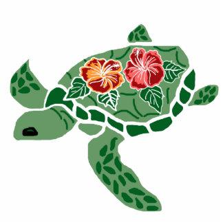 Hibiscus flower sea turtle sculptured pin cutout