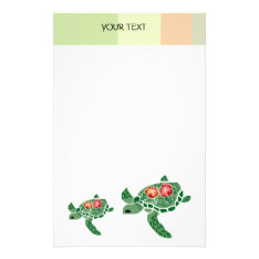 Hibiscus Flower Sea Turtle, Stationary Stationery at Zazzle