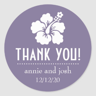 Hibiscus Flower Thank You Labels (Eggplant Purple) Classic Round Sticker