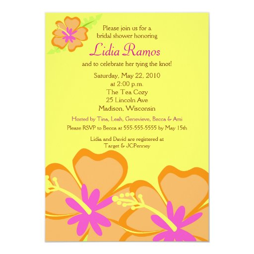 Hibiscus Flower Tropical 5x7 Bridal Shower Invite