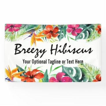 Hibiscus Flower Tropical Paradise Hawaiian Floral Banner