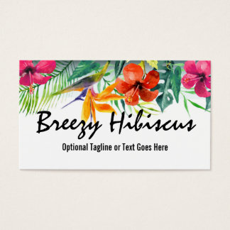 Hibiscus Flower Tropical Paradise Hawaiian Floral Business Card