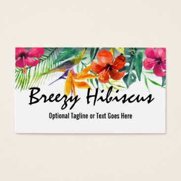 Beach Themed Hibiscus Flower Tropical Paradise Hawaiian Floral Business Card