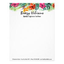 Hibiscus Flower Tropical Paradise Hawaiian Floral Letterhead