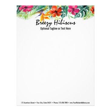 Beach Themed Hibiscus Flower Tropical Paradise Hawaiian Floral Letterhead