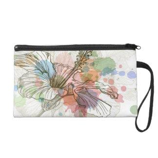 Hibiscus flower & watercolor background wristlet clutch