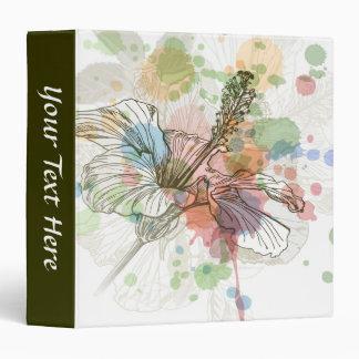 Hibiscus flower & watercolor background binder