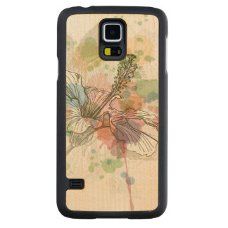 Hibiscus flower & watercolor background carved® maple galaxy s5 slim case