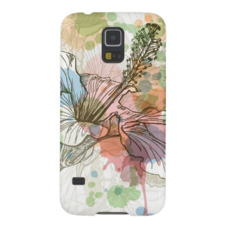 Hibiscus flower & watercolor background cases for galaxy s5