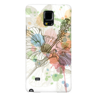Hibiscus flower & watercolor background galaxy note 4 case