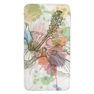 Hibiscus flower & watercolor background galaxy s4 pouch