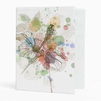 Hibiscus flower & watercolor background mini binder