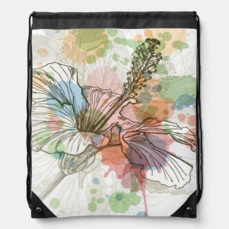Hibiscus flower & watercolor background backpack