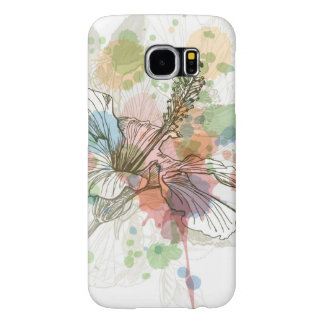 Hibiscus flower & watercolor background samsung galaxy s6 cases