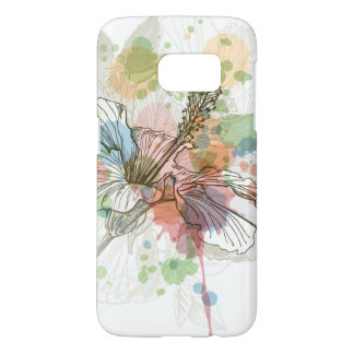 Hibiscus flower & watercolor background samsung galaxy s7 case