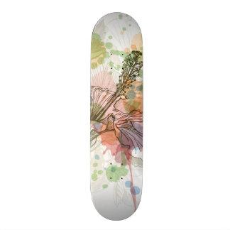 Hibiscus flower & watercolor background skateboard
