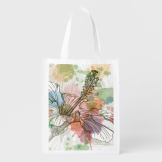 Hibiscus flower & watercolor background reusable grocery bag