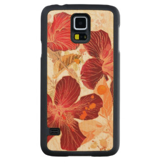 Hibiscus flower - watercolor paint 2 carved® maple galaxy s5 slim case