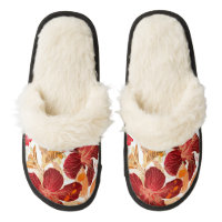 Hibiscus flower - watercolor paint 2 pair of fuzzy slippers