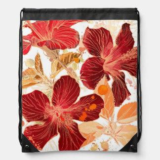 Hibiscus flower - watercolor paint 2 drawstring bag