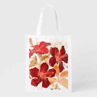Hibiscus flower - watercolor paint 2 grocery bags