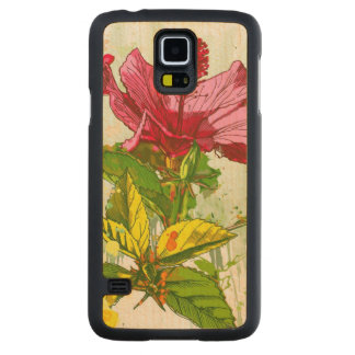 Hibiscus flower - watercolor paint carved® maple galaxy s5 slim case
