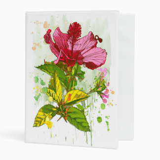 Hibiscus flower - watercolor paint mini binder
