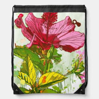 Hibiscus flower - watercolor paint drawstring bag