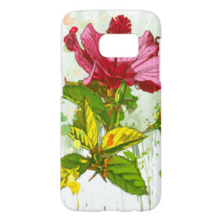 Hibiscus flower - watercolor paint samsung galaxy s7 case