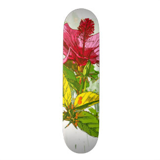 Hibiscus flower - watercolor paint skateboard