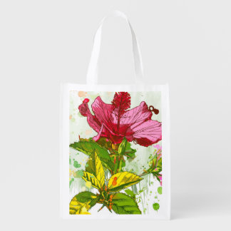 Hibiscus flower - watercolor paint grocery bags