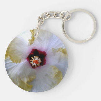 hibiscus flower white yellow center picture keychain